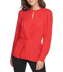 donna karan women's center knot keyhole blouse - cerise - size s