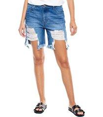 medium waist shorts tono medio con rotos color blue