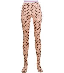 marine serre all over moon tights - neutrals