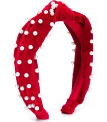 monnalisa pearl-embellished knotted headband - red
