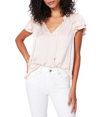 paige laramie flutter sleeve satin top, size x-small in cream tan at nordstrom