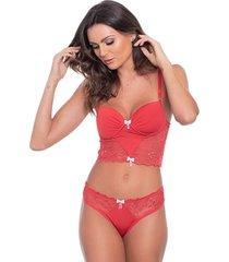 conjunto click chique sexy cropped rendado vermelho