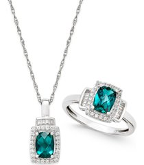 lab-created emerald (1-3/8 ct. t.w.) and white sapphire (5/8 ct. t.w.) pendant necklace and matching ring set in sterling silver