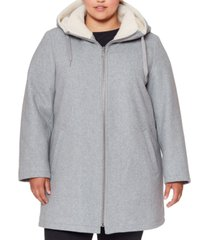 vince camuto plus size fleece-lined hooded coat