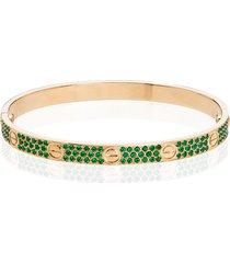 mad paris customised cartier love 18kt gold emerald bracelet