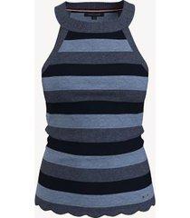 tommy hilfiger women's essential stripe halter sweater tank b0807 chambray heather multi - xl