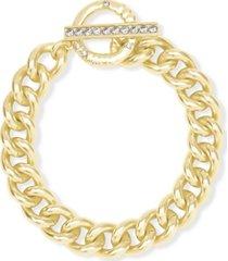 kendra scott 14k gold-plated cubic zirconia large link chain bracelet