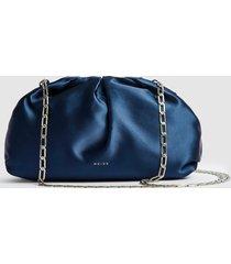 reiss ellena - satin pouch clutch in blue, womens