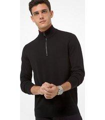 mk pullover con mezza zip in lana merino - nero (nero) - michael kors