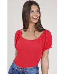 blusa feminina canelada manga bufante decote reto vermelha
