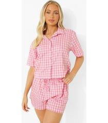 mix & match lichte gingham pyjama blouse, pink