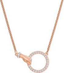 "swarovski rose gold-tone crystal hand & ring choker necklace, 11-7/8"" + 3"" extender"
