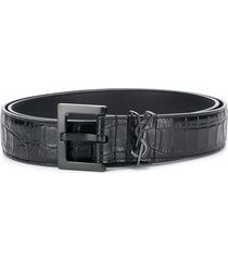 crocodile-effect monogram belt
