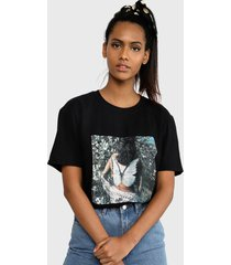 polera missguided butterfly photographic ss tee tops negro - calce oversize