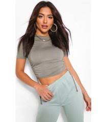 crew neck ruched side t-shirt, khaki