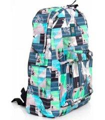 mochila style college cinza e verde - clio style - multicolorido - dafiti