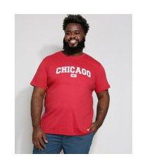 camiseta masculina plus size chicago manga curta gola careca vinho