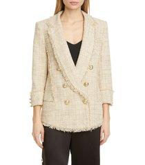 women's balmain metallic tweed pyjama blazer, size 14 us - beige