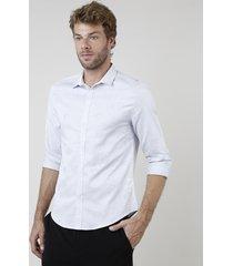 camisa social masculina slim fit estampada floral manga longa cinza