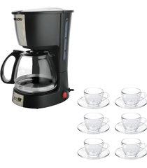 kit 1 cafeteira mallory filtro permanente 220v e 1 jogo de 6 xícaras 240ml com pires