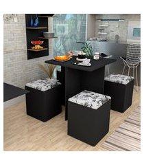 conjunto de mesa de jantar quadrada nanda com 4 bancos | banquetas estofados corino preto e damasco