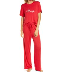women's honeydew intimates all american pajamas, size medium - red