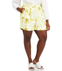 inc plus size belted printed shorts, created for macy's