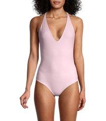 mikoh swimwear women's ipanema one-piece swimsuit - cloud pink - size s