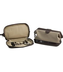 7-piece suede toiletry bag, stainless steel manicure & grooming set