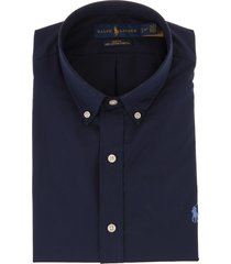 man slim fit shirt in navy blue and sky blue poplin