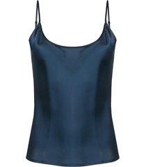 la perla spaghetti-strap pajama top - blue