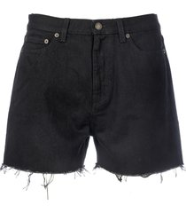 saint laurent denim shorts raw edg