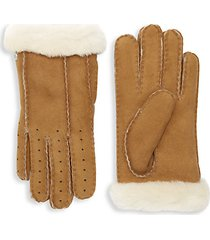 perforated shearling gloves