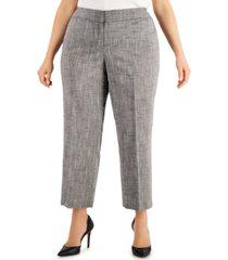kasper plus size cross-dye straight-fit pants