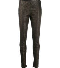 manokhi embossed skinny-fit trousers - black