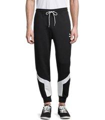 puma men's iconic mcs stretch-cotton track pants - black - size m