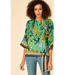 yoins blusa redonda con estampado tropical verde de rayas cuello
