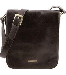 tuscany leather tl141255 tl messenger - borsa a tracolla 2 scomparti testa di moro