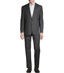 lauren ralph lauren men's lexington standard-fit sharkskin wool-blend suit - charcoal - size 48 l