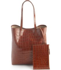 royce new york croc-embossed tall tote bag wristlet