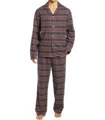 men's l.l.bean men's scotch plaid flannel pajamas, size xx-large - grey