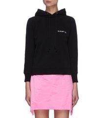 logo embroidered shrunken hoodie