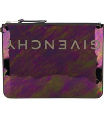 givenchy iridescent logo clutch - preto