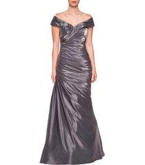 women's la femme ruched satin trumpet gown, size 18 - grey