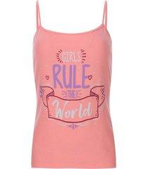 top descanso girls rule color rosado, talla m