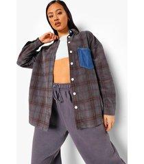geruite corduroy spijkerblouse, mid blue