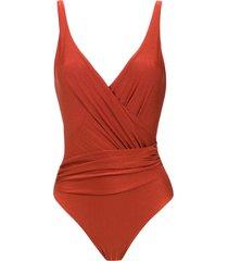 lygia & nanny maísa wrap style swimsuit - red