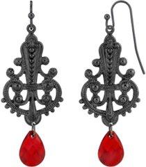 2028 black-tone filigree earring