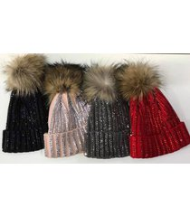 diamante knitted hat faux fur winter beanie bobble pom celebrity bling sparkly