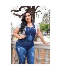macacao jeans plus size 902.1 multicolorido